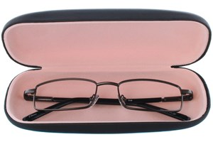 Click to swap image to alternate 1 - Amcon Protective Clam Eyeglasses Case Black GlassesCases - Black