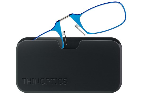 ThinOPTICS Reading Glasses with Universal Pod Case Bundle ReadingGlasses - Blue