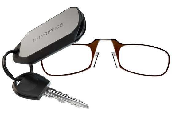 ThinOPTICS Keychain Case & Readers ReadingGlasses - Brown